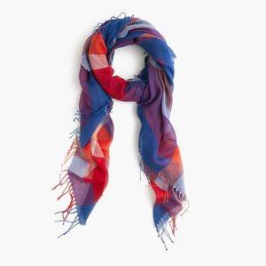 J.CREW Plaid scarf with tassels